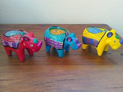 handmade abstract unscented  rhino candles - set of 3