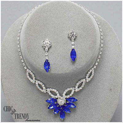Clearance Blue & Clear Crystal Prom Wedding Formal Necklace Jewelry Set Trendy
