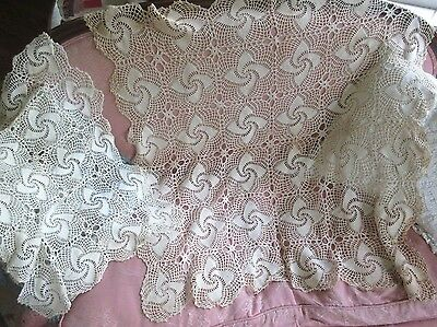 Antique VTG Hand Crocheted Lace Doily Square Table Topper &Runner Pin Wheel Lot