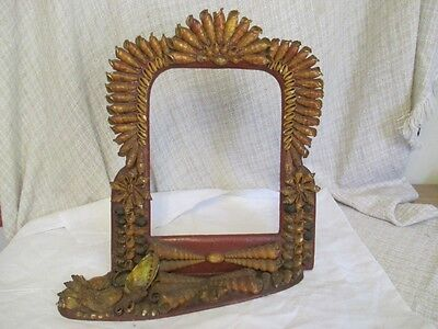 Antique Sailors Valentine Shell Art - Table Top Mirror Picture Frame ro