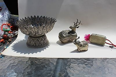 Group of 4 (bowl, brass needle case & 2 boxes)