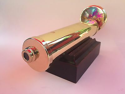 Color Vision Brass Kaleidoscope with wood stand & dual multi-color Wheels