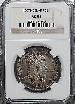 1907H Straits Settlement Silver $1 - NGC AU55, Colorful Toning