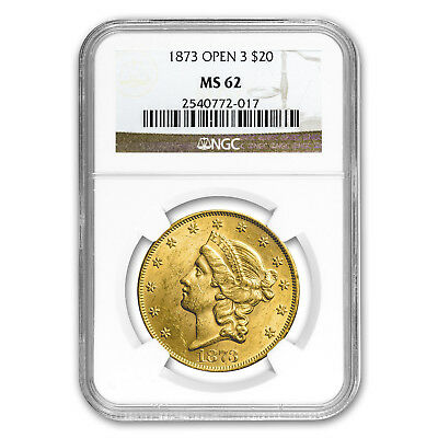 1873 $20 Liberty Gold Double Eagle MS-62 NGC (Open 3)