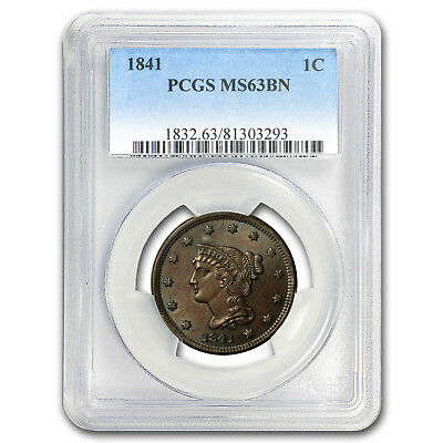 1841 Large Cent MS-63 PCGS (Brown)