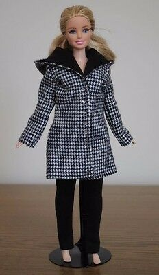 "Clothes for Curvy Barbie Doll. Hooded Coat ""Houndstooth"" Print and Leggings"