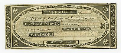 1800's $2 The Bank of Windsor, VERMONT Note AU