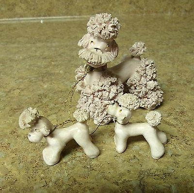 """VINTAGE  3""""  Pink SPAGHETTI POODLE w/ Two 1 3/4"""" puppies on chain Japan"""