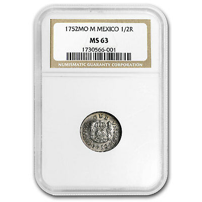 1752 Mo-M Mexico 1/2 Real MS-63 NGC