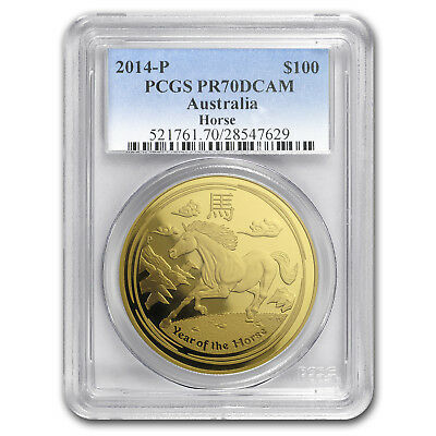 2014 1 oz Gold Lunar Year of the Horse MS-70 PCGS (SII)