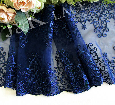 20.5 cm width Exquisite Prussian Blue Embroidery Mesh Lace Trim