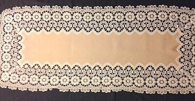 """Great Vintage Exceptional Chemical Lace Richly Decorated Runner  42 x 17 1/2"""""""