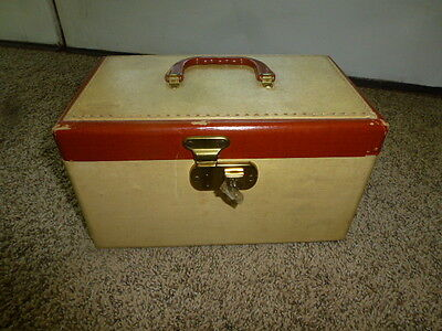 Vintage Lock Box Travel Trunk Suitcase Make up Case Doll Sized Small