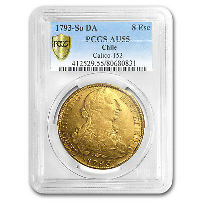 1793-SO DA Chile Gold 8 Escudos Charles IV AU-55 PCGS