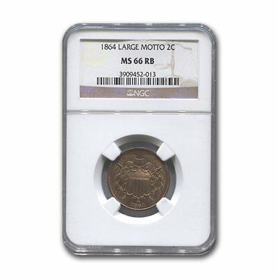 1864 Two Cent Piece Large Motto MS-66 NGC (Red/Brown)