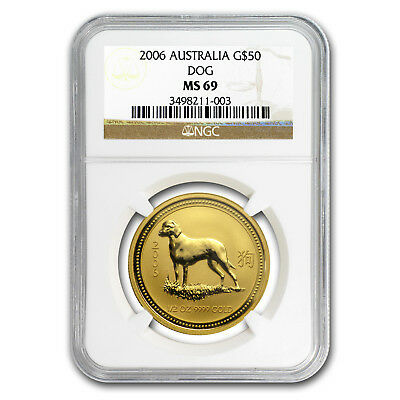2006 1/2 oz Gold Lunar Year of the Dog MS-69 NGC (Series I)