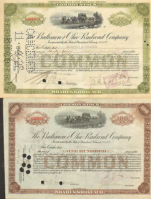 Baltimore and Ohio Railroad Company Set of 2 Maryland B&O CSX stock certificate