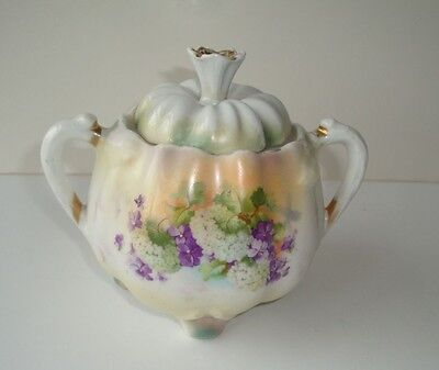 ANTIQUE FLORAL PORCELAIN SUGAR BOWL WITH LID--from GERMANY