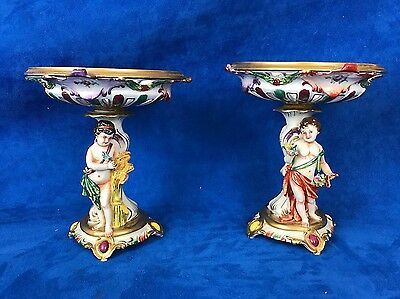 Antique Pair of Germany Or Italian Tazza Compote with Cherubs