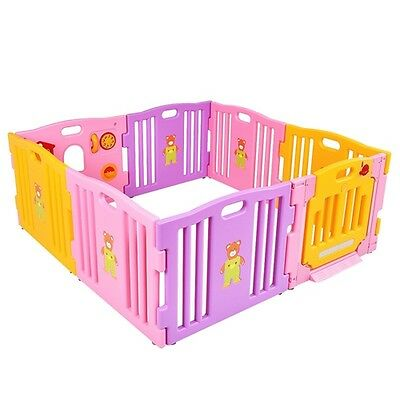 New Pink 8 Panel Baby Playpen Kids Safety Play Center