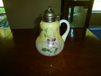 1882  Antique Syrup Pitcher Painted Violets Pansy Flowers