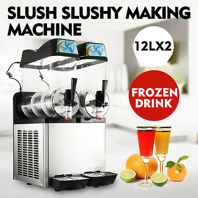2 Tanks 24L Commercial Frozen Drink Slush Slushy Machine Ice Business Slurpee