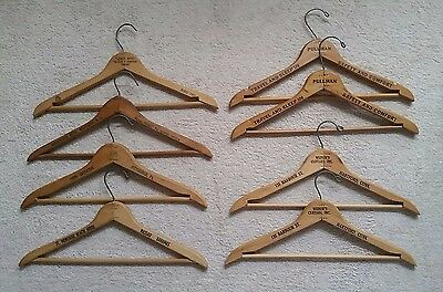 Lot of Eight Vintage Wooden Hotel/Pullman Hangers