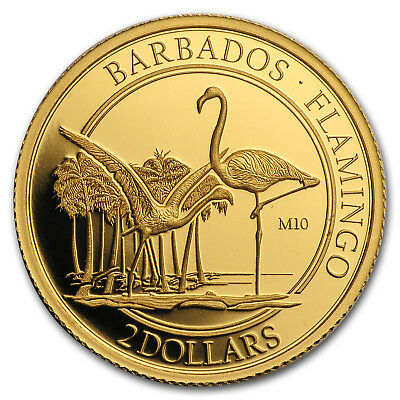 2017 Barbados 1/10 oz Proof Gold The Flamingo (M10 Privy Mark)