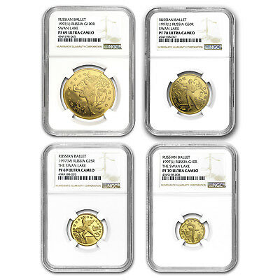 1997 Russia 4-Coin Gold Ballet Swan Lake Proof Set PF69/70 NGC