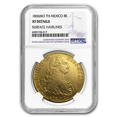 1806 Mo-TH Mexico Gold 8 Escudos Charles IV XF Details NGC