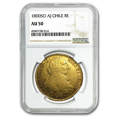 1800-SO AJ Chile Gold 8 Escudos Charles IV AU-50 NGC