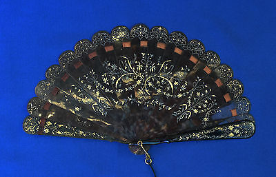 Antique Carved & Gilted Faux TS  Brise Fan
