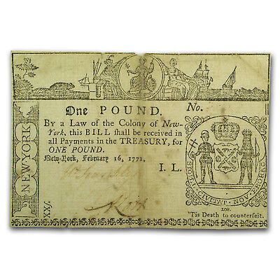 1771 1 Pound New York Currency 2/16/1771 XF