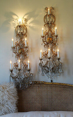 Antique Rare Pair Italian Beaded 4 Foot Wall Sconces Gorgeous