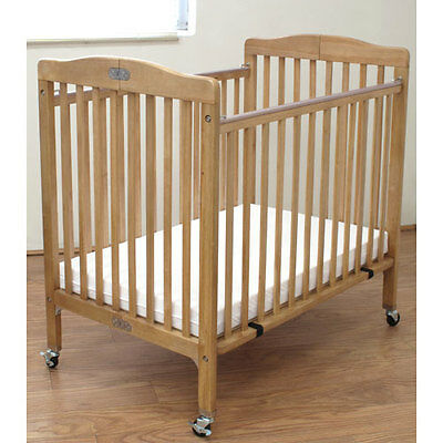 L.A. Baby Compact Folding Wood Commercial Crib, Natural - CW-883A-N