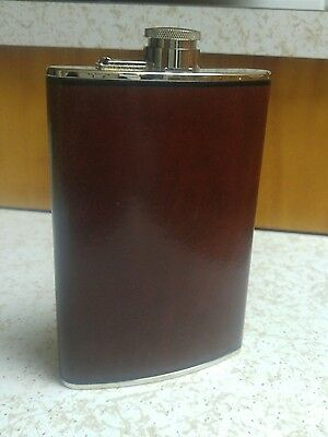 Bosca Hip Flask Hand Stained Hide Silver End Caps 8 OZ In Good Condition