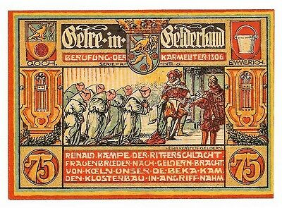 *1922 GELDERN Germany Banknote- KING & MONKS~ 75 pf VERY RARE German Notgeld UNC