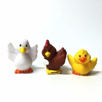 3PCS Fisher Price Little People Chicken Duck Farm Animals Figure Baby Girl Dolls
