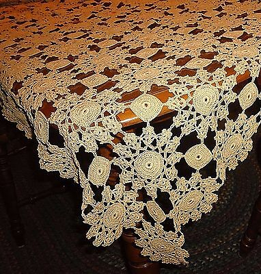 "Vintage Hand Crochet Estate Tablecloth Bedspread Bed Cover 74"" x 58"" Ecru Beige"