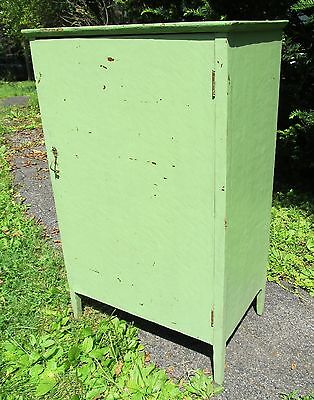 Nice Vintage Antique Wooden Green Painted Cabinet w/ Shelves - Rustic Chic Decor