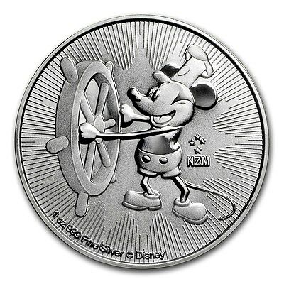 2017 1 oz New Zealand Silver $2 Niue Mickey Mouse Steamboat Willie Coin (BU)