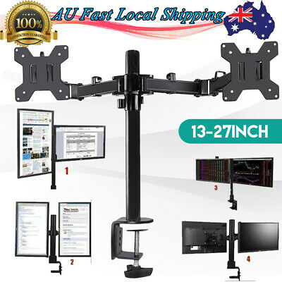"Dual HD Screen TV Monitor Desk Mount Stand 2 Arm Display Bracket 13""-27"" AU Post"