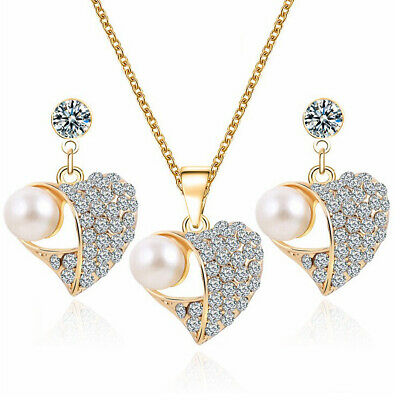 Women's Pearl Heart Jewelry Set Gold Plated Crystal Necklace Stud Earrings Gift