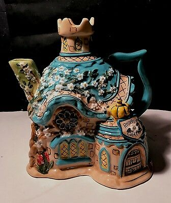 Heather Goldminc Blue Sky Clayworks Rosebriar Castle Collectible Cottage Teapot