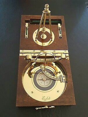 High-quality Maritime Captain's Brass Desk Sundial and Compass in Wooden Box