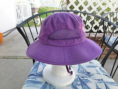 REI Girl's Purple Sun Hat W/ Embroidered Flowers.  Size 7Y- 14Y.