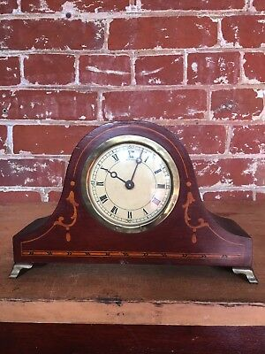 Small Wooden Mantel Clock - Inlay Details, Brass Feet - Vintage, Antique