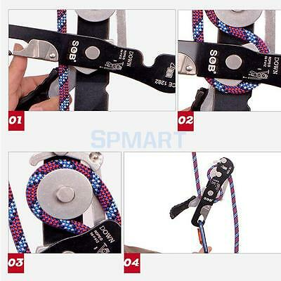Rock Climbing Stop Descender Rappelling Rescue Equipment for 8mm-12mm Rope