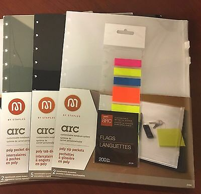 Lot of Staples ARC Poly Pocket Dividers, Zip Pockets, Tab Dividers, Flags - NEW