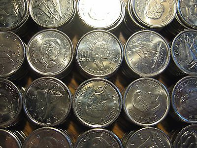 [50] Canada Dimes 10 Cents 1968-Present mixed lot roll